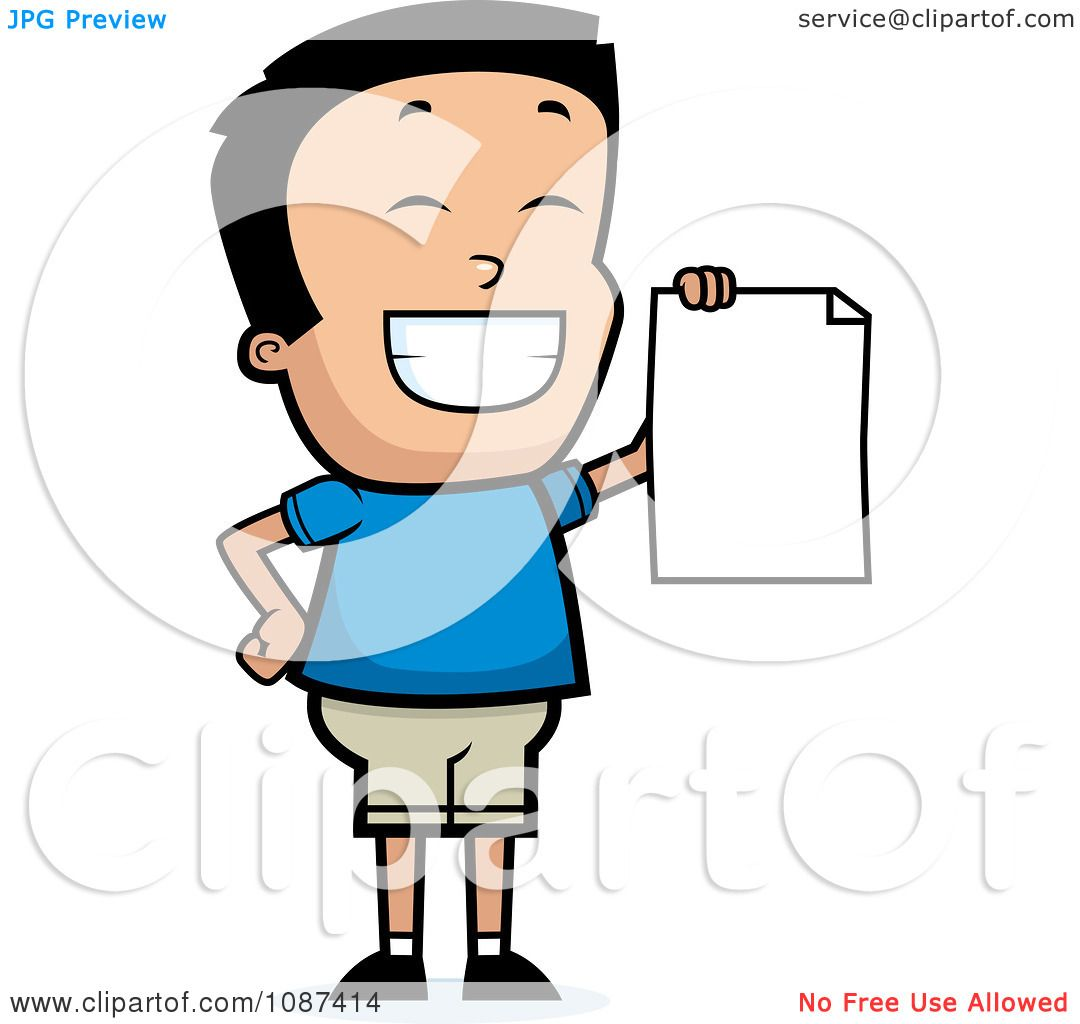 Clipart Smart School Boy Presenting His Report Card.