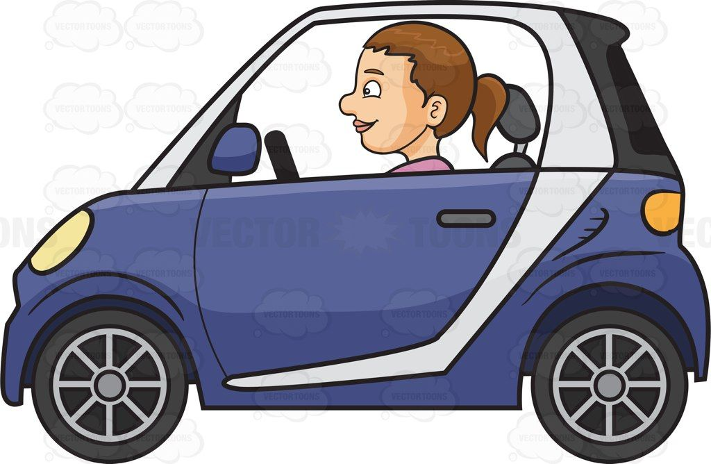 A woman driving a smart car #cartoon #clipart #vector.