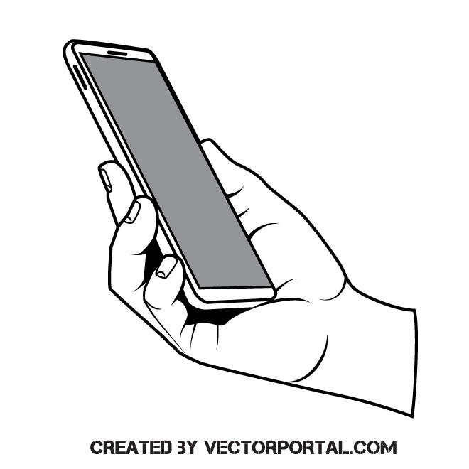 Hand holding a smartphone.