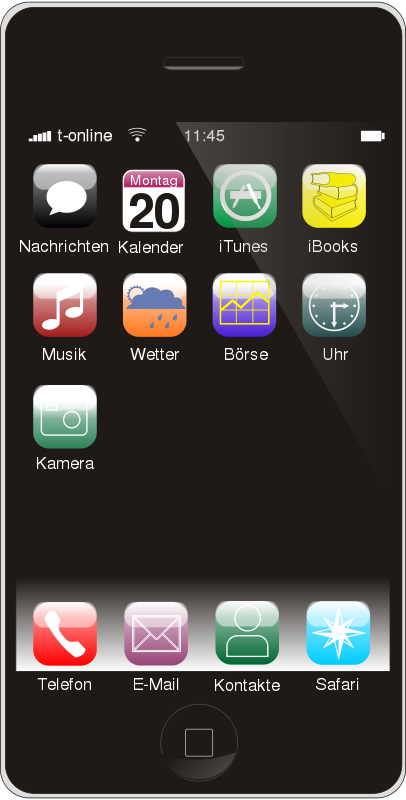 Free Clipart: Smartphone (German Version).