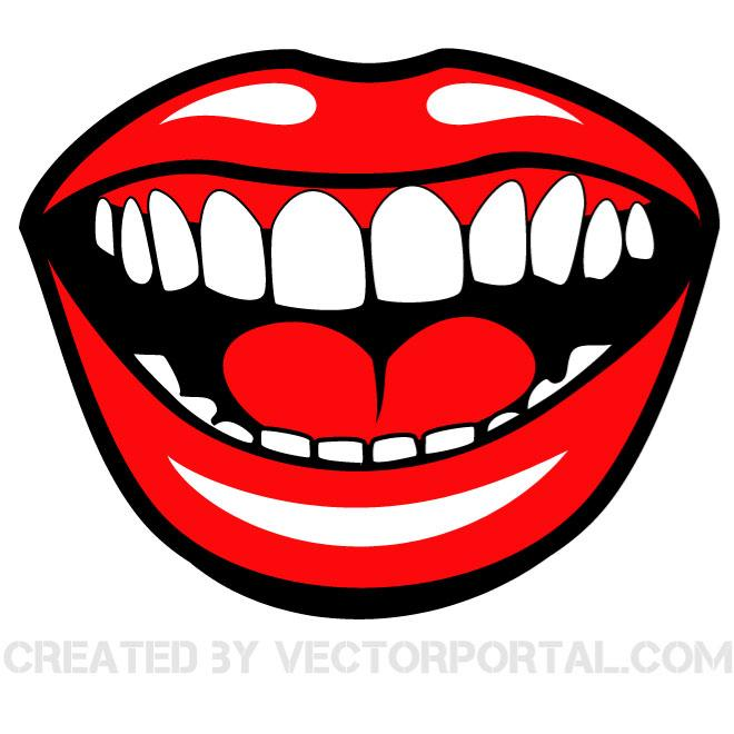 SMILING MOUTH VECTOR CLIP ART.