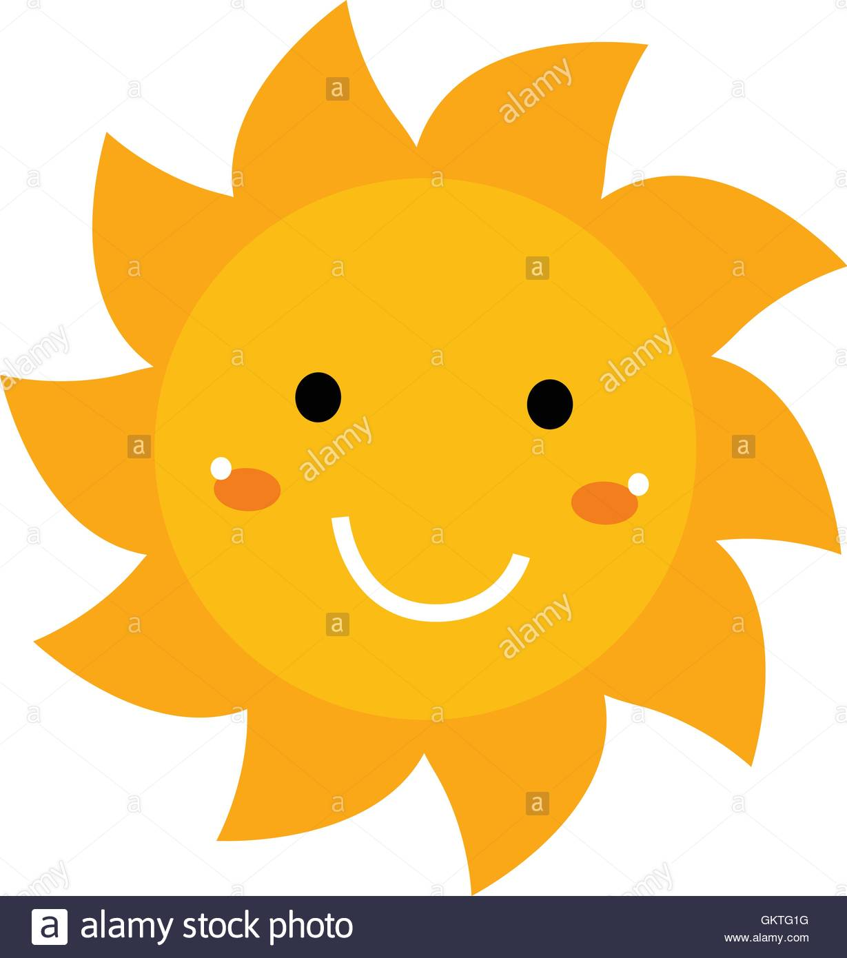 Pretty smiling Sun clipart isolated on white Stock Vector Art.