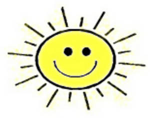 Free Clipart Picture of Smiley Face Sun.