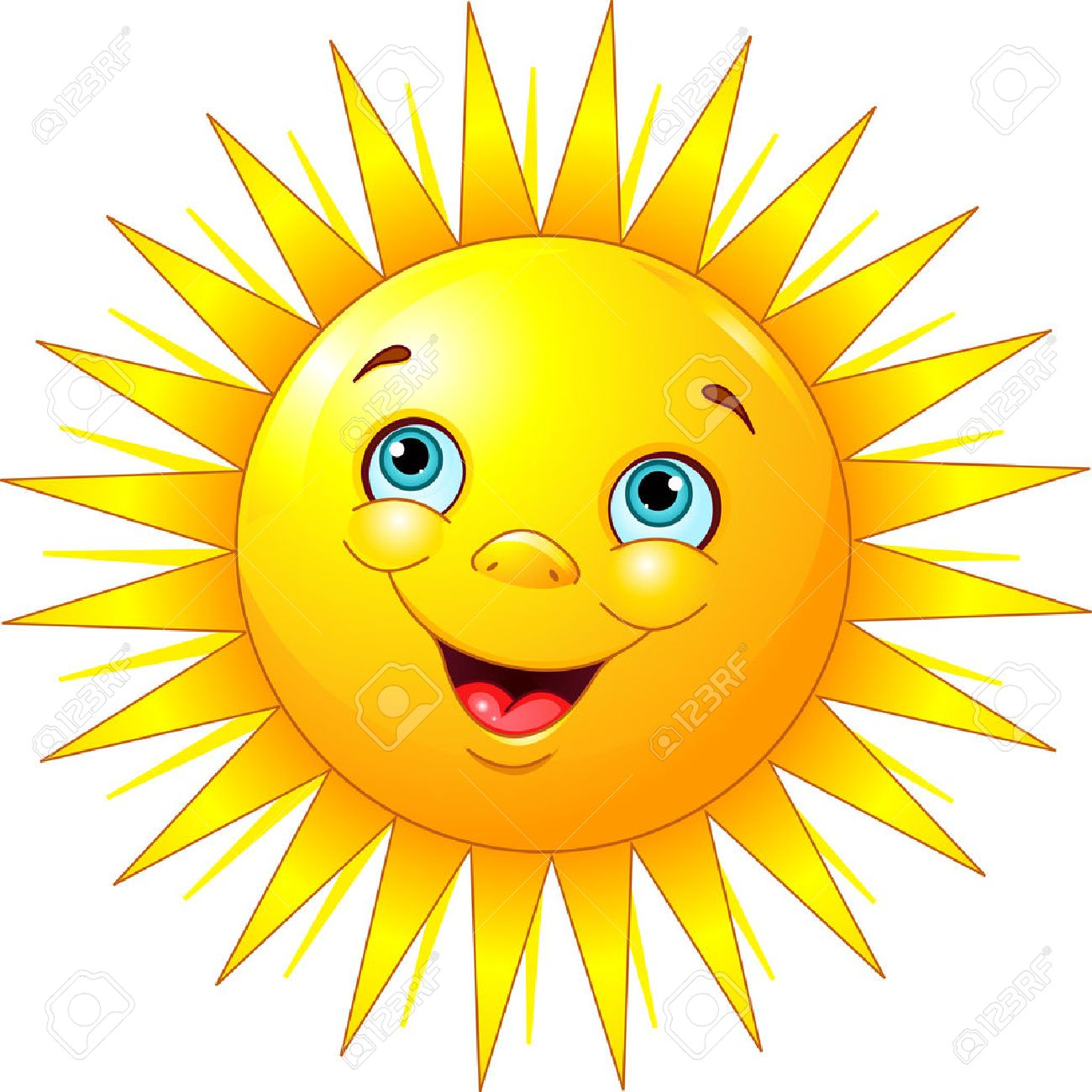 Illustration of smiling sun character.