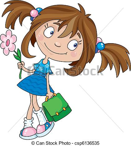 Clipart Vector of smiling girl.
