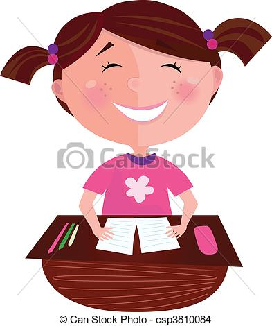 EPS Vector of Happy smiling girl in school.