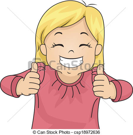 Girl giving thumbs up clipart.