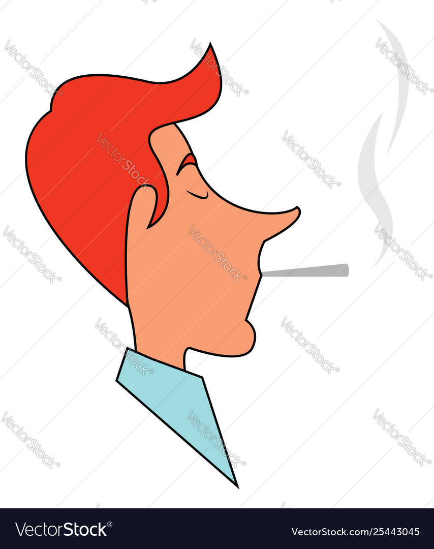 Clipart a man smoking a cigarette bud set on.