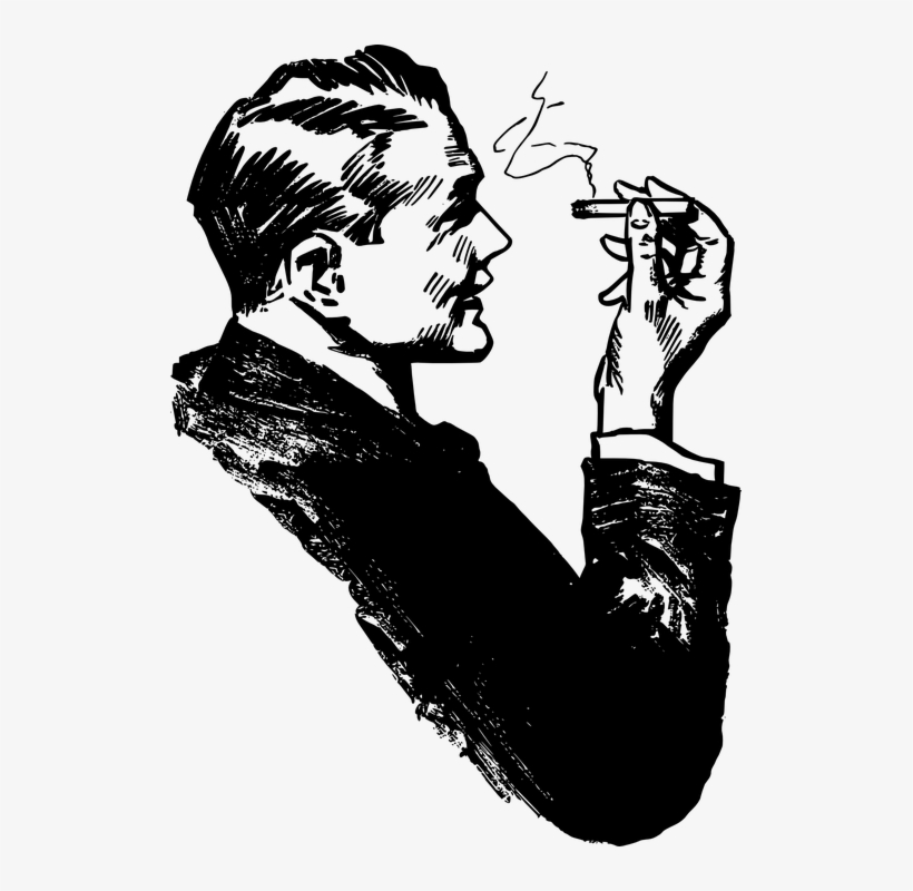 Drawn Cigarette Male Smoking.