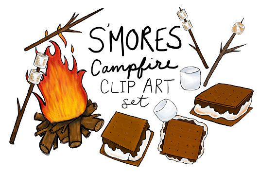 Hand drawn S\'mores clip art set, digitally drawn clip art.