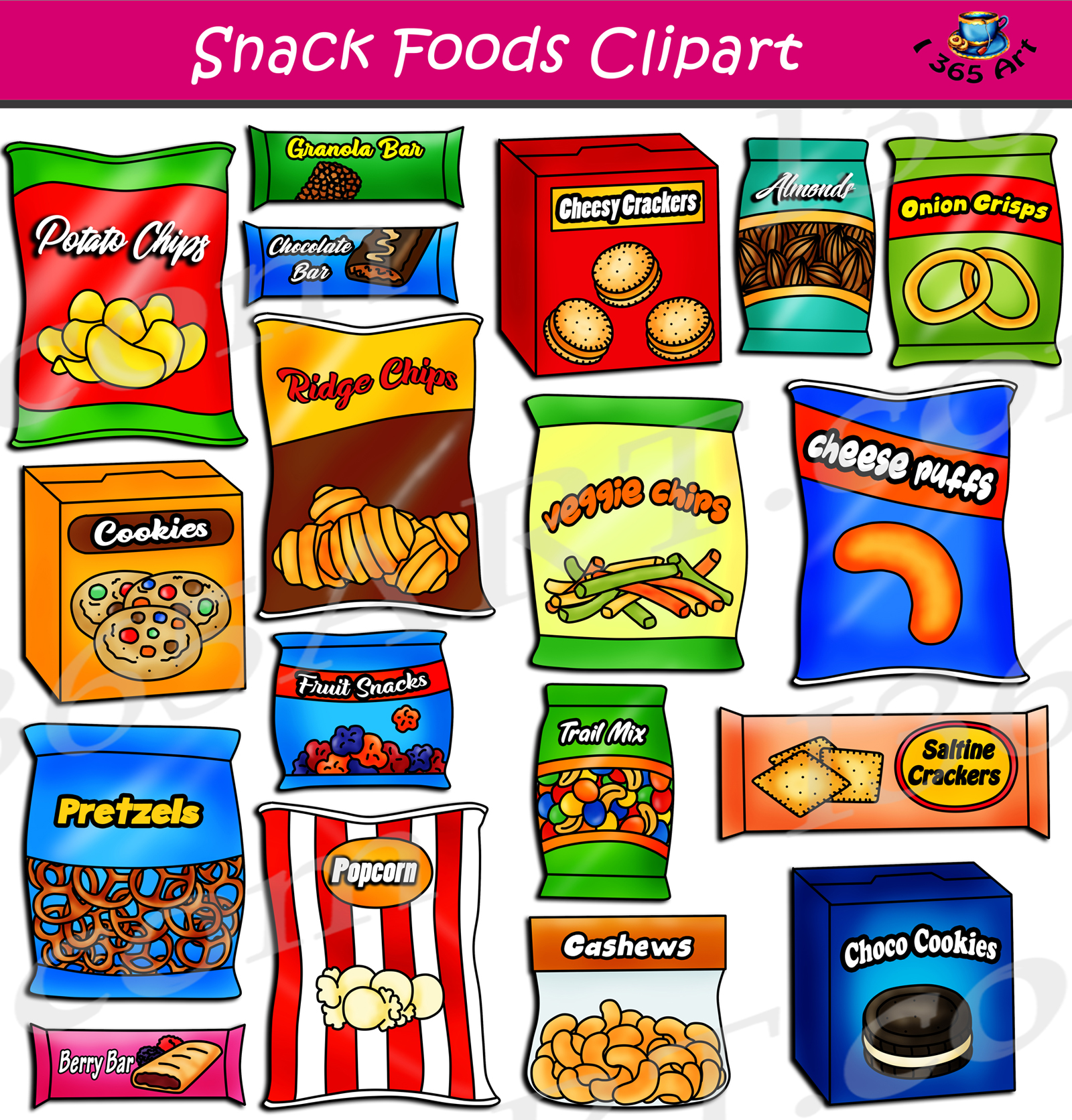 Snack Foods Clipart Set Download.