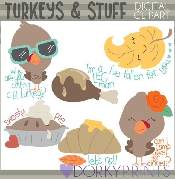 Snarky Turkeys Thanksgiving Clipart.