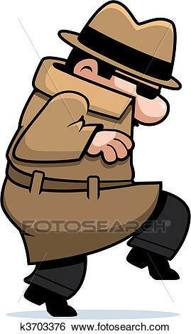 Spy Sneaking Clip Art.