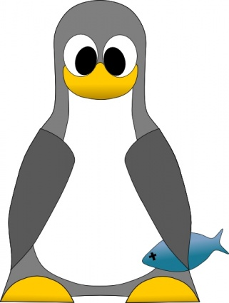 Tux With Fish clip art.