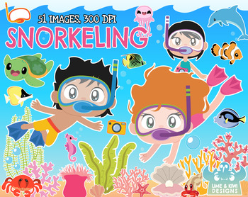 Snorkeling Clipart, Instant Download Vector Art, Commercial Use Clip Art.