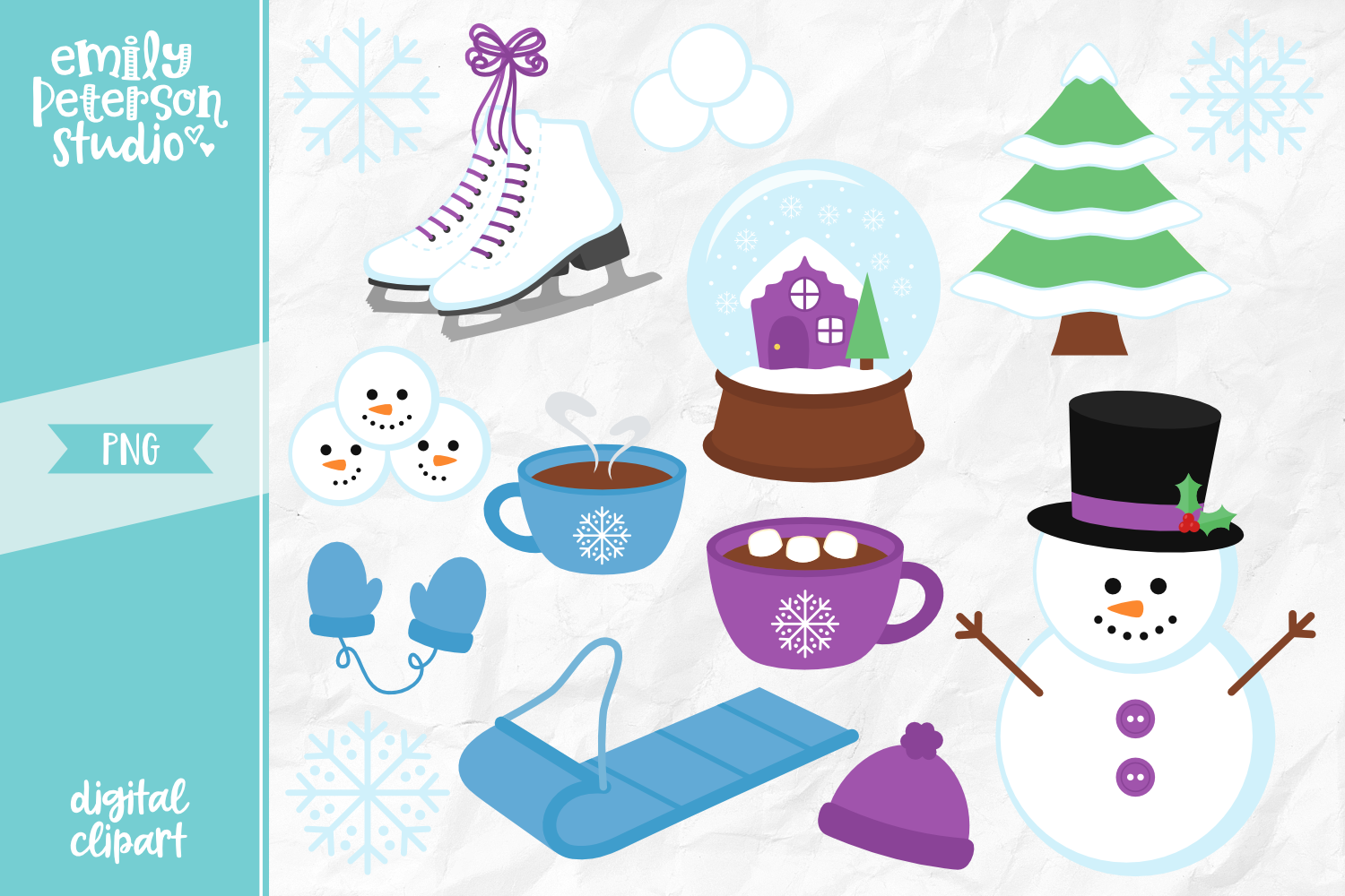 Snow Day Clipart Illustration PNG.