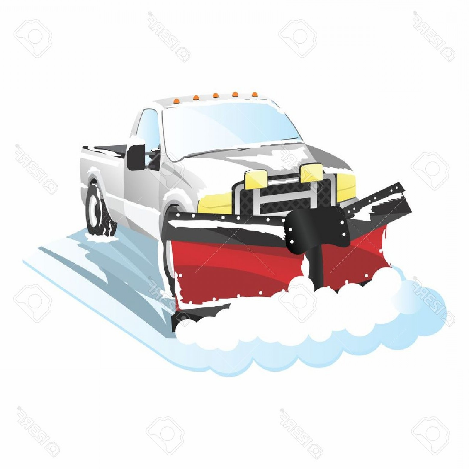 Photostock Vector Funny Cartoon Plowing Truck Snow Removal.