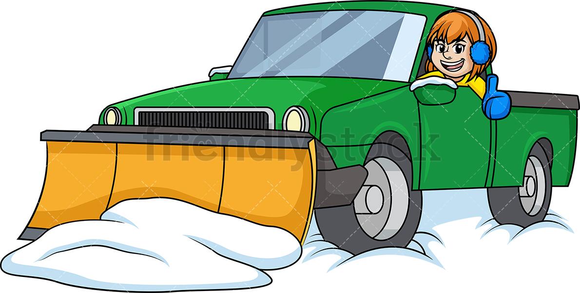 Woman In Snow Plow Truck.