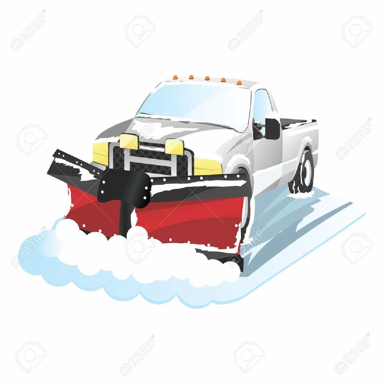 Funny Cartoon Plowing Truck, snow removal.