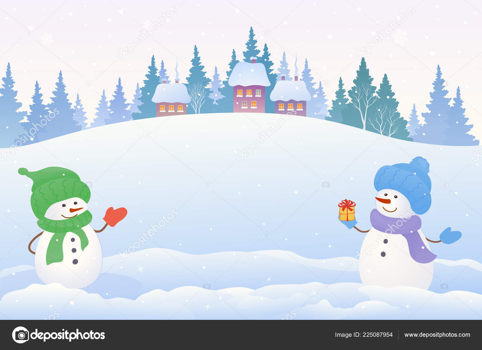 Clipart: snow scenery.