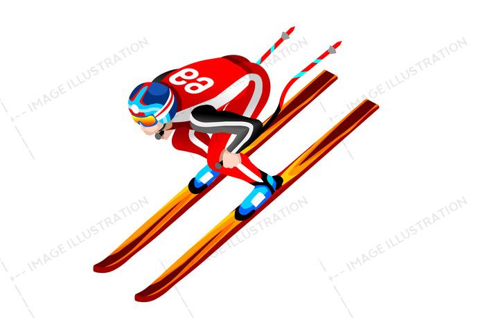 Skier Clipart Skiing Downhill Vector.