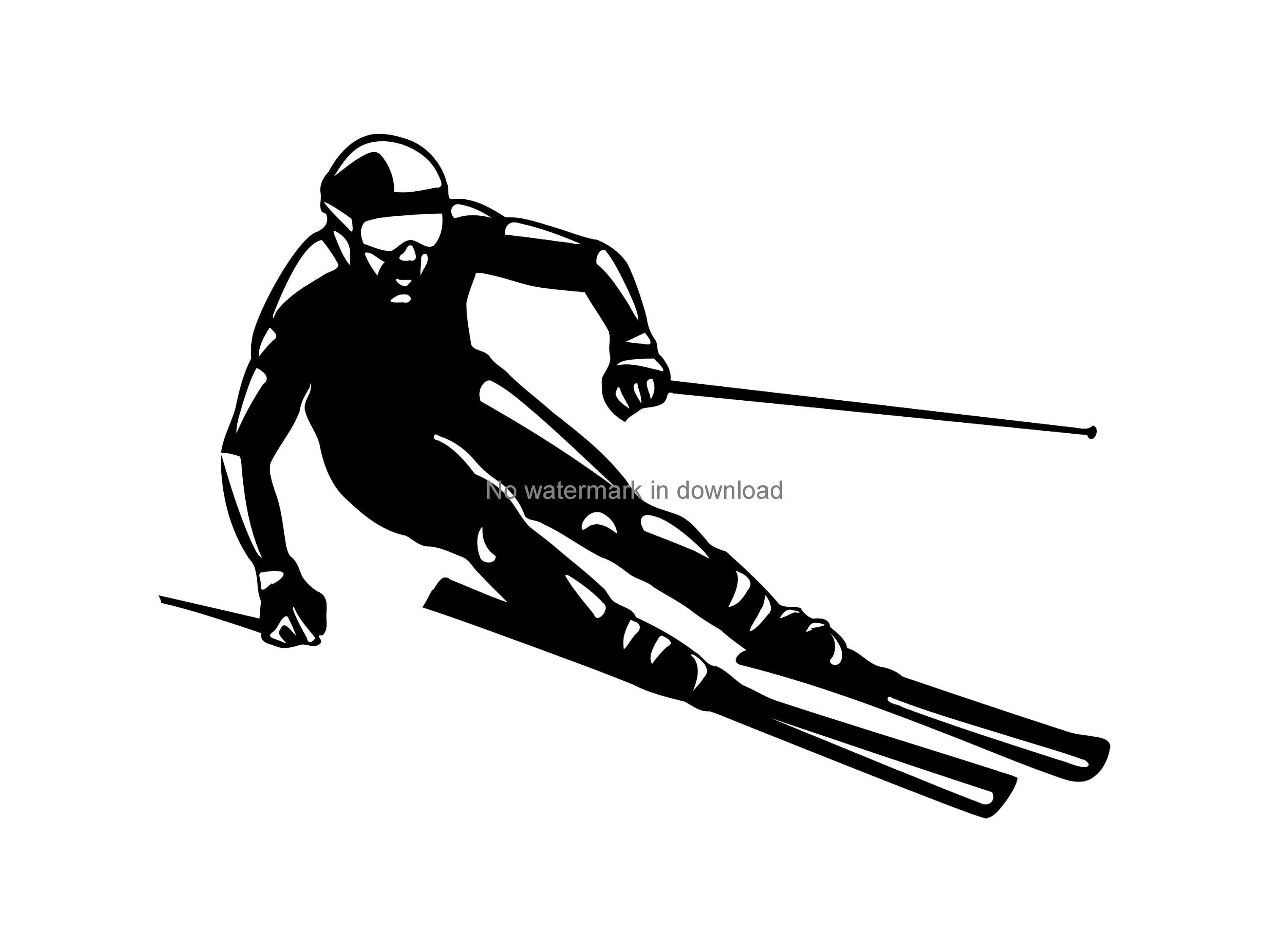 Skier Clipart, Skiing svg, Winter Sports, Skiing Clip Art, Downhill Skier,  Snow Skier Silhouette Art, Skiing Vector, Skiing Clipart Png Dxf.