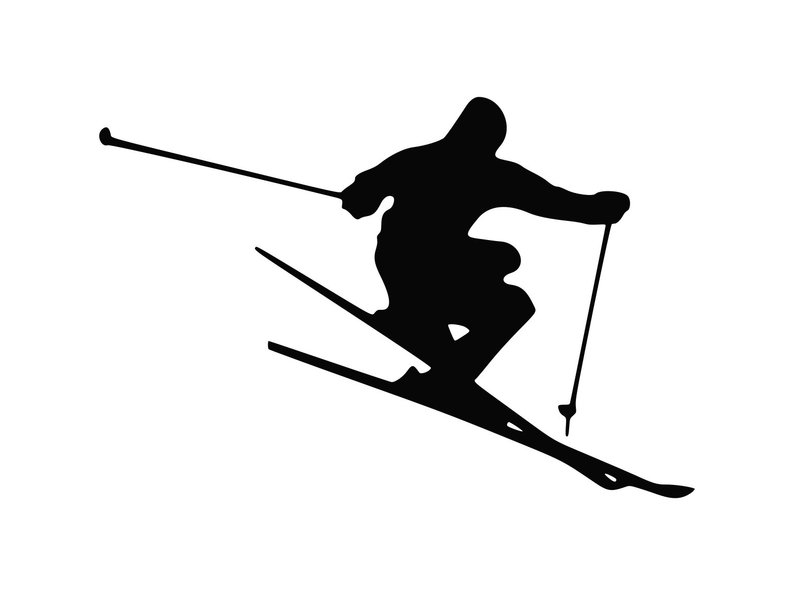 Snow Skier Svg Vector Skiing Svg Dxf Png Skier Clipart.