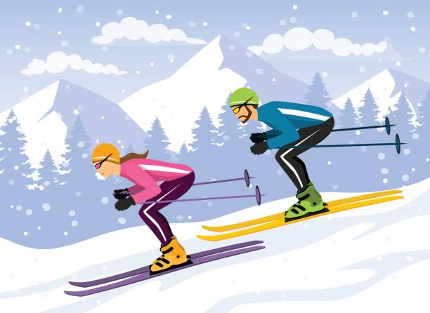 Best Downhill Skiing Illustrations, Royalty.