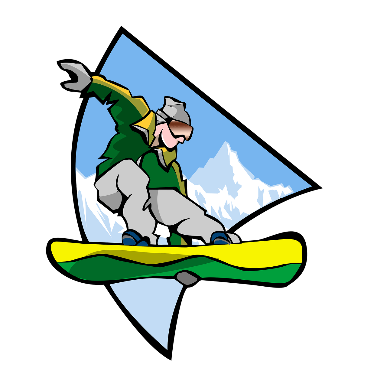Sports Man Snowboarding Clipart transparent PNG.