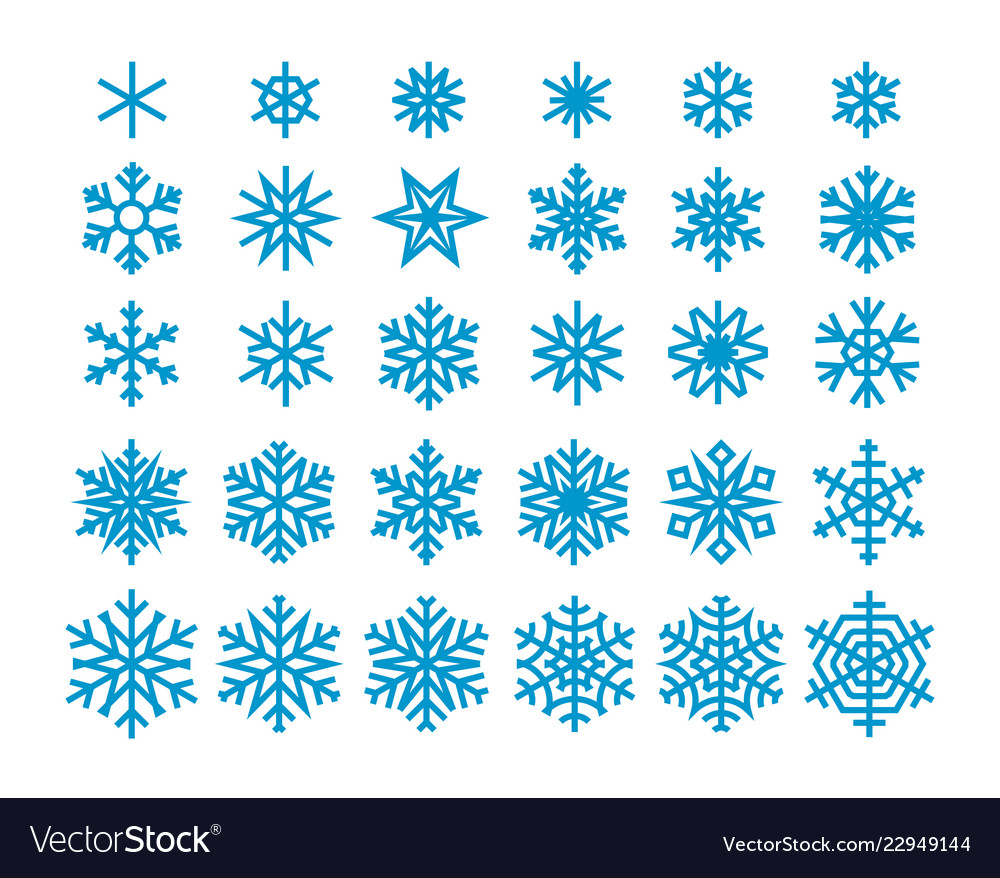 Snowflakes isolated on white background clipart.