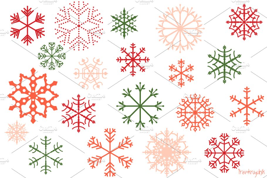 Red and green snowflakes clipart set.