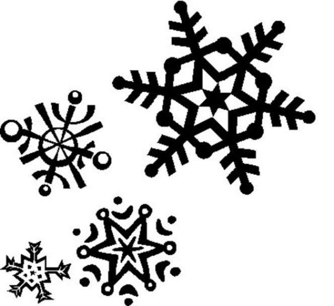 snowflakes falling clipart black and white.