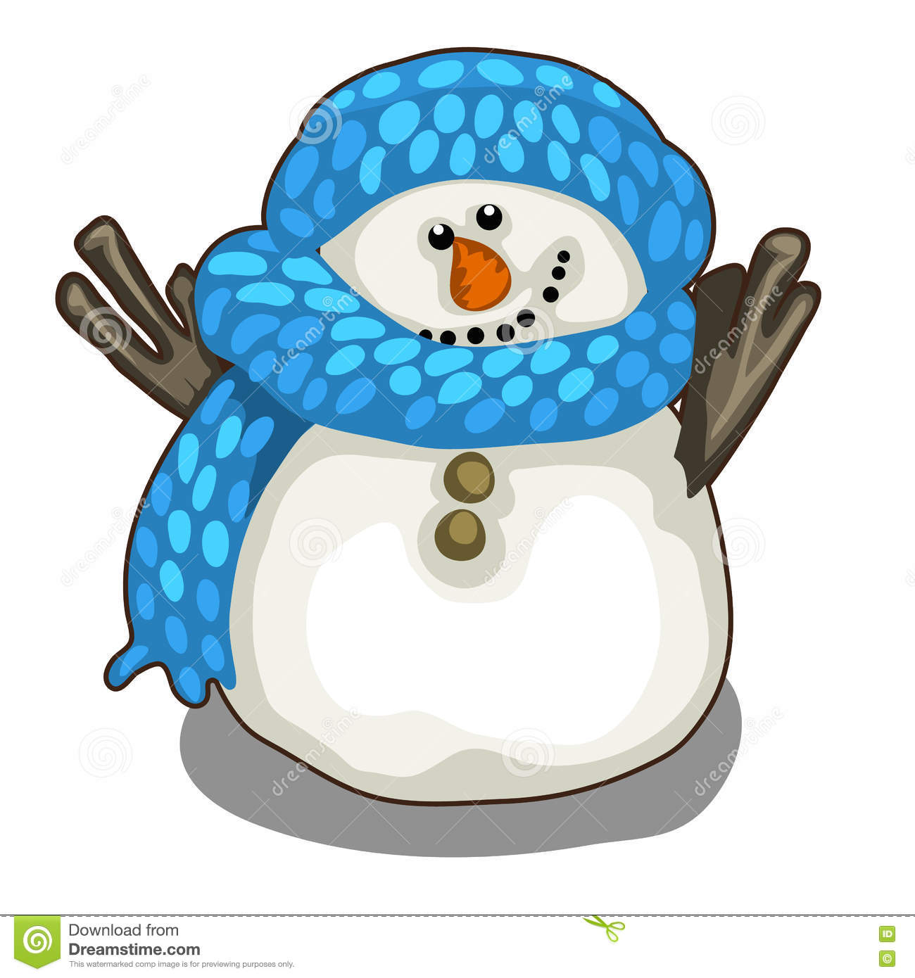 Cute Smiling Snowman In Blue Scarf And Hat Stock Vector.
