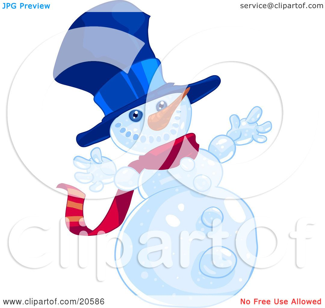 Clipart Illustration of a Happy Winter Snowman Wearing A Blue Hat.