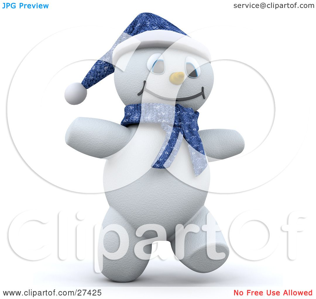 Clipart Illustration of Frosty The Snowman In 3d, Wearing A Blue.