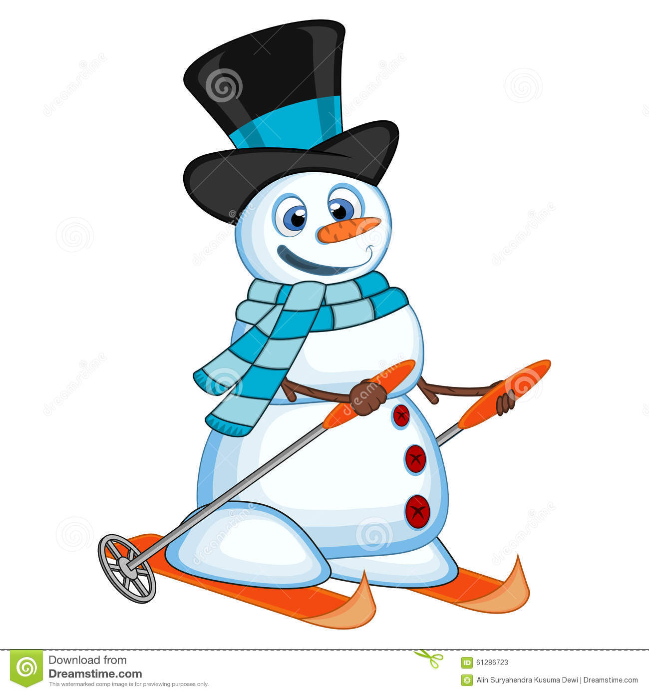 Snowman With Hat And Blue Scarf Is Skiing For Your Design Vector.