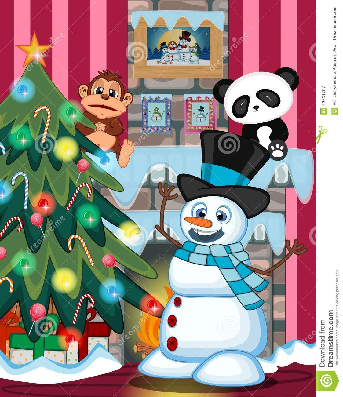 Snowman Wearing A Hat And A Blue Scarf With Christmas Tree And.