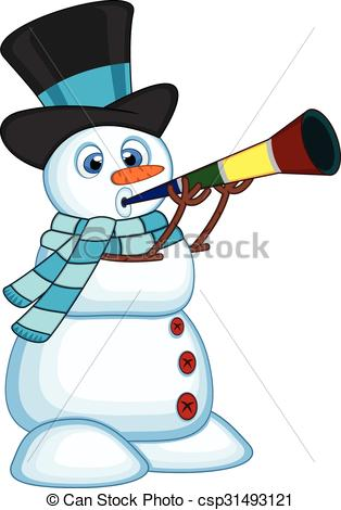 Vector Illustration of Snowman wearing hat and blue scarf.