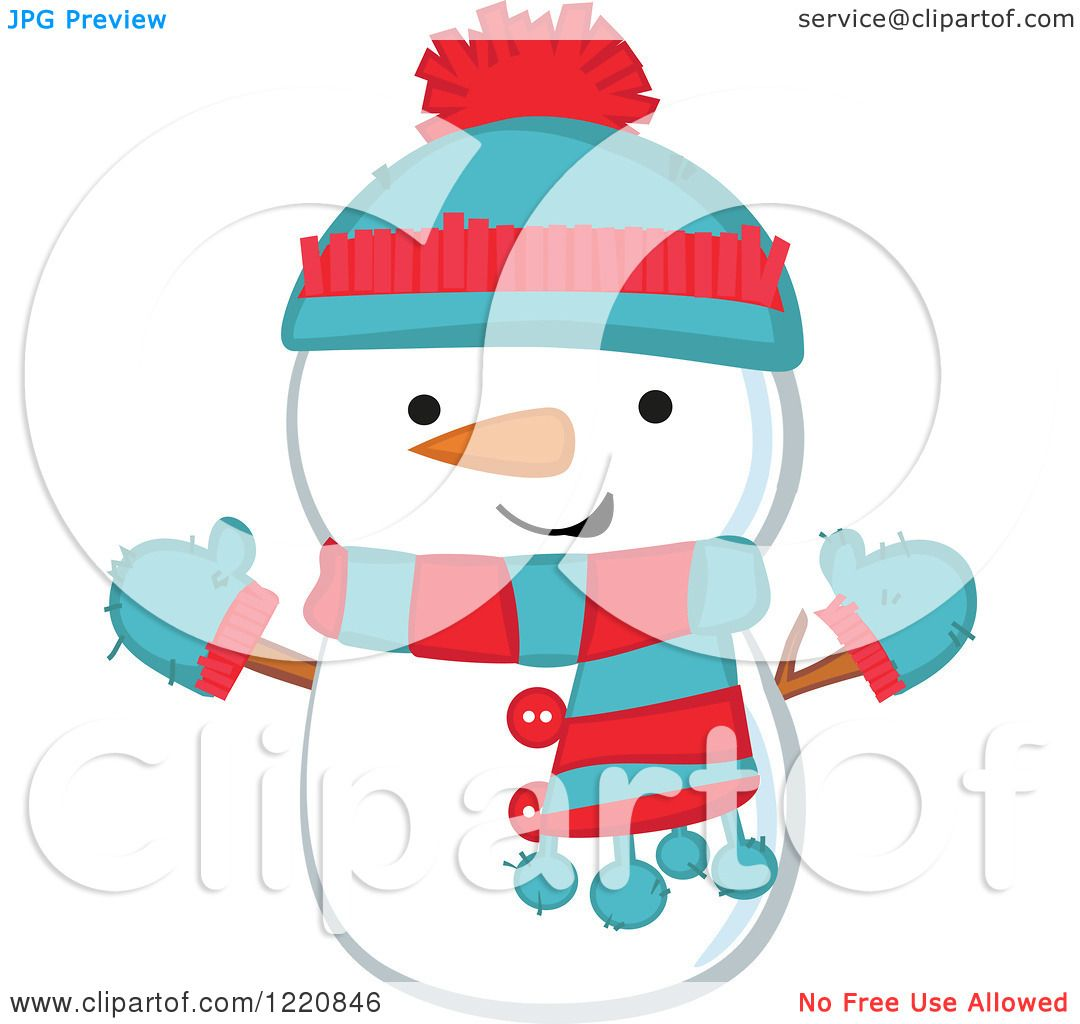 Clipart of a Cute Christmas Snowman Wearing a Hat Mittens and.
