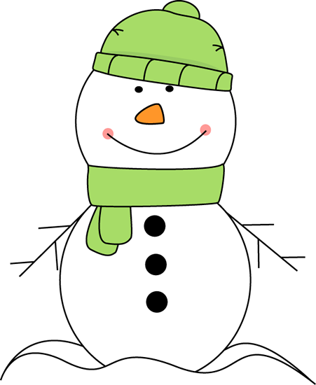 cute snowman wearing a green hat and scarf clip art.
