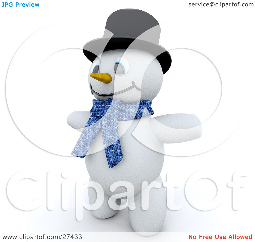 Clipart Illustration of Frosty The Snowman In 3d, Wearing A Black.