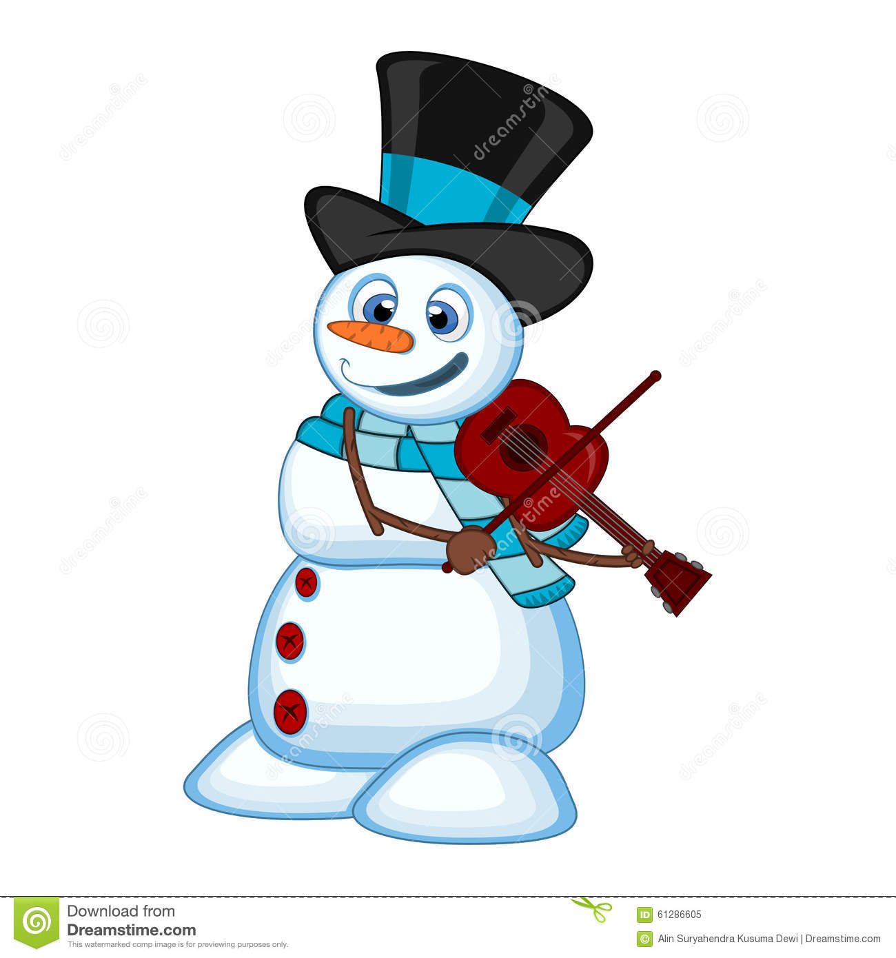 Snowman With Hat And Blue Scarf Playing The Violin For Your Design.