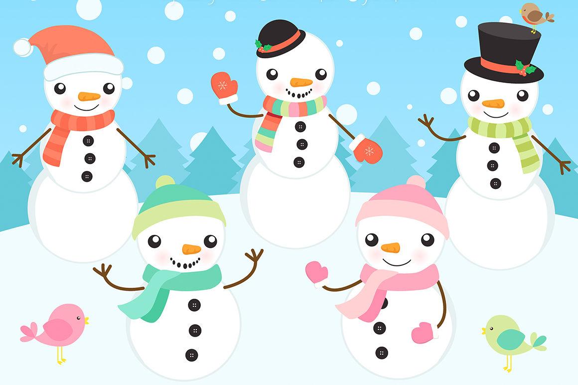 Winter Snowmen Clipart By La Boutique Dei Colori.
