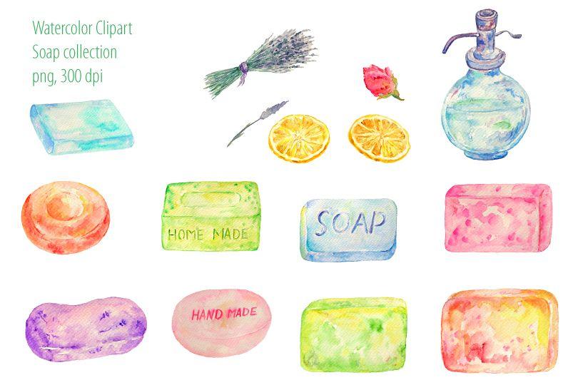 Watercolour Soap Clipart.