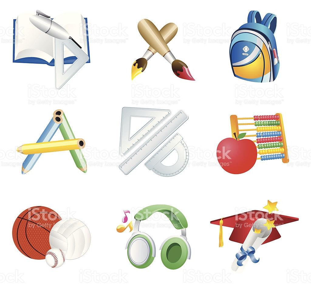 Educação Clipart Conjunto Vetor e Ilustração Royalty.