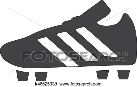 Soccer shoes icon in black on a white background. Vector illustration Clip  Art.