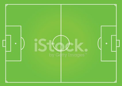 Soccer field football pitch top view Clipart Image.