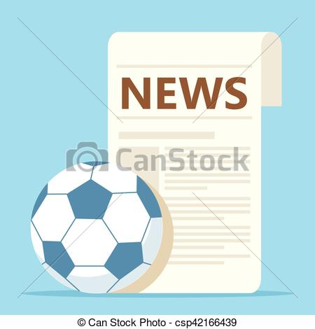 sport news with soccer ball.