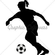 Girls Soccer Silhouette Clipart.
