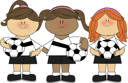 cute clip art ~ Girl Soccer Players.